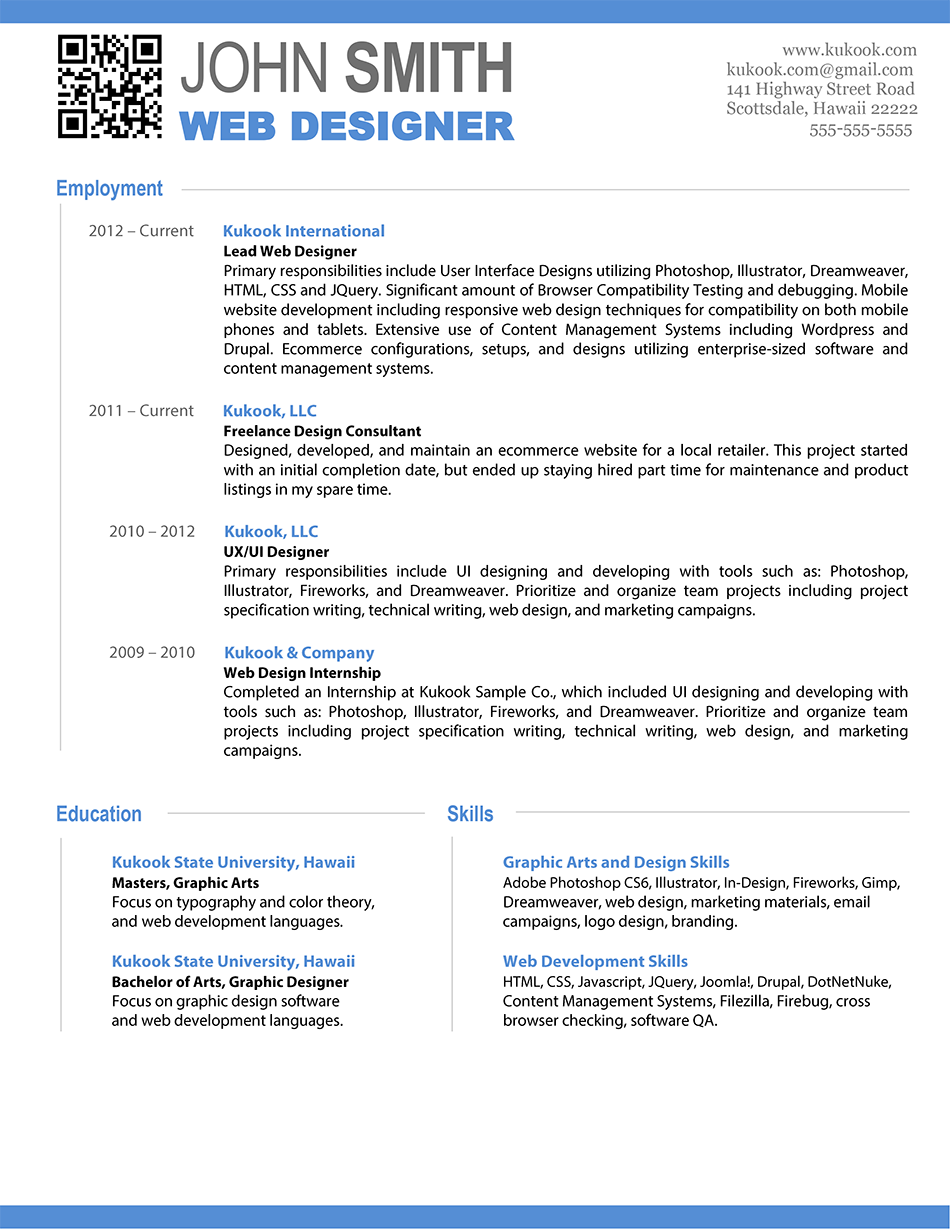sample web developer resume