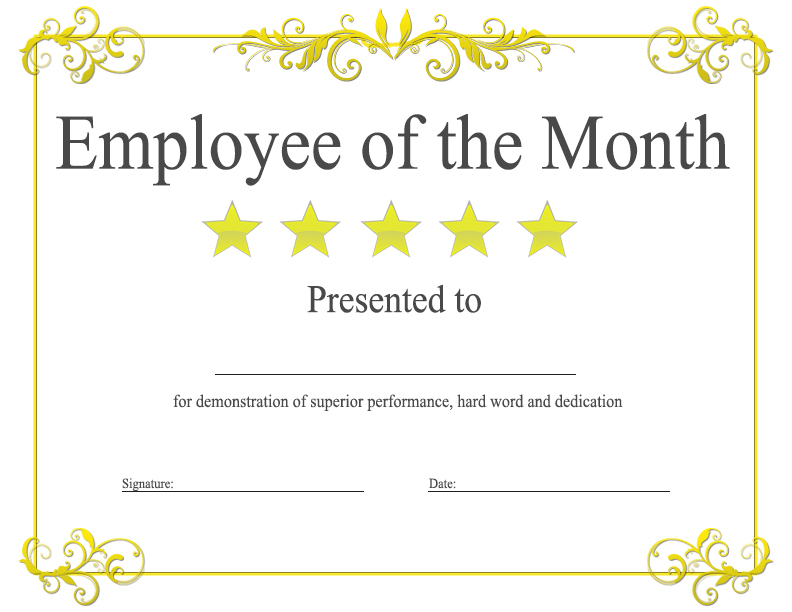 image about Employee of the Month Printable Certificate identified as Personnel Thirty day period Certification Template