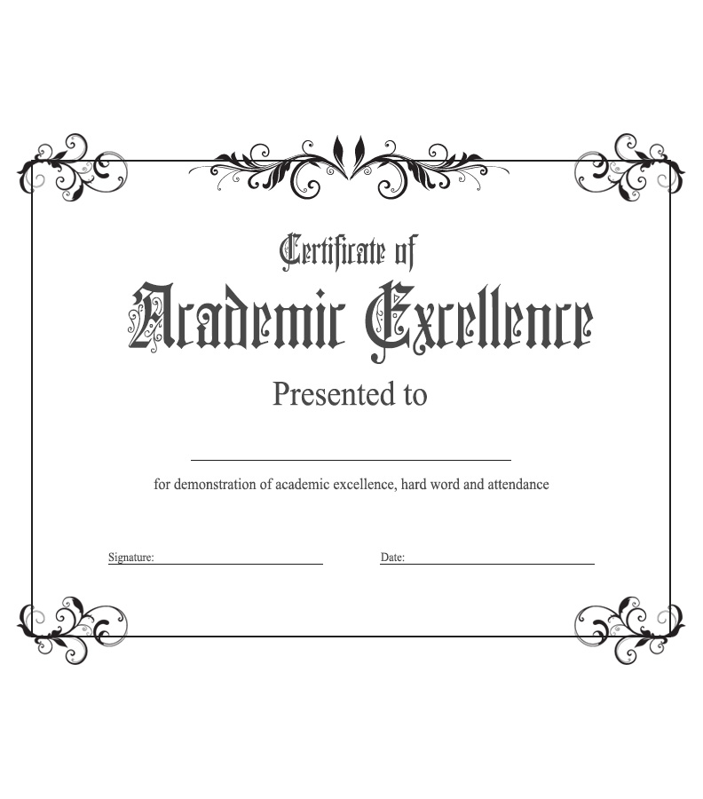 Exceptional Certificates And Awards Templates U003e Academic Excellence. Academic Excellence Intended For Excellence Award Certificate Template