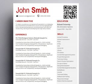 red and white themed resume sample