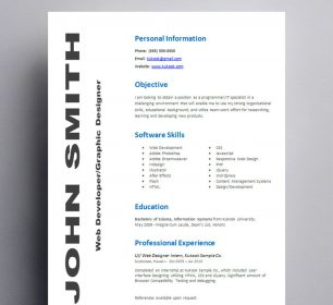simple and classic entry level resume template