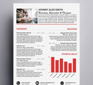 modern resume template with graph chart