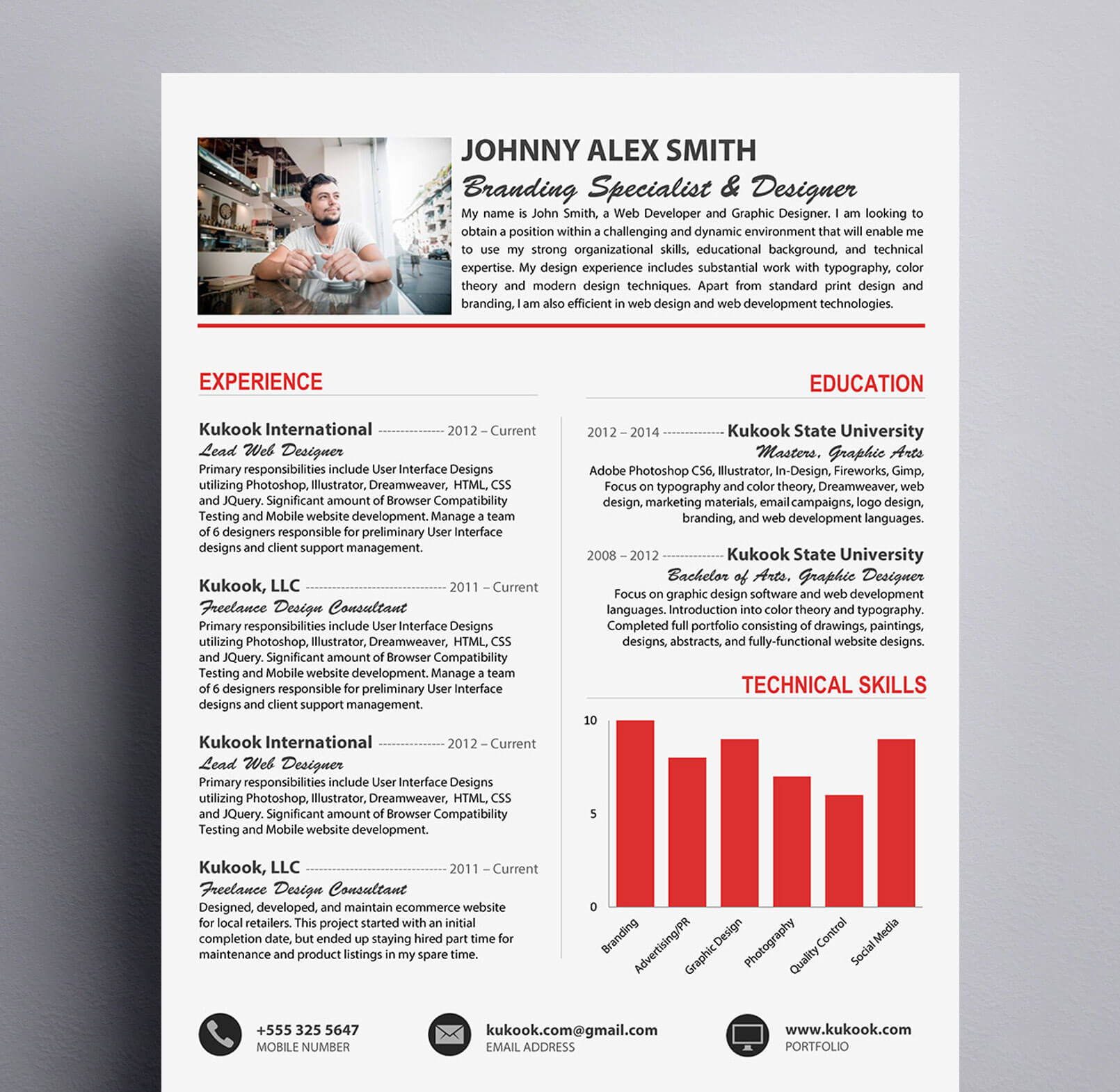 clean resume template perfect for creative professionals kukook. Black Bedroom Furniture Sets. Home Design Ideas