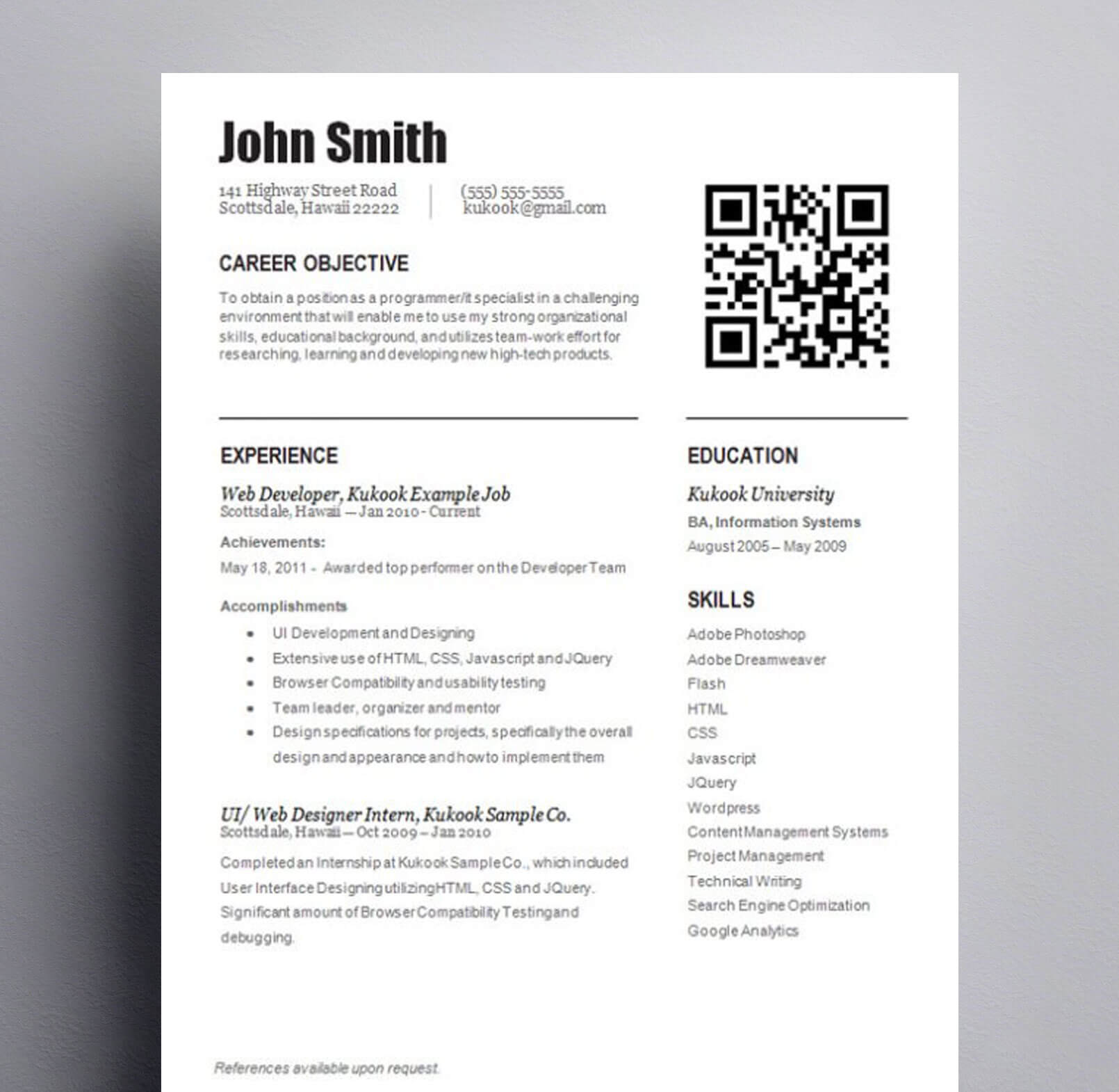 entry level template with qr code kukook