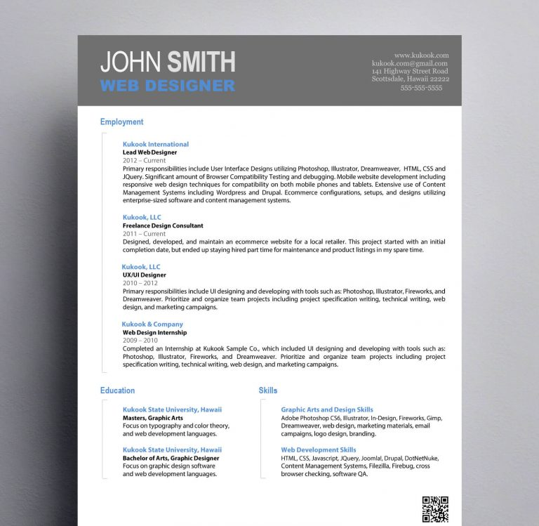 Simple Graphic Design Resume : Kukook  Design A Resume