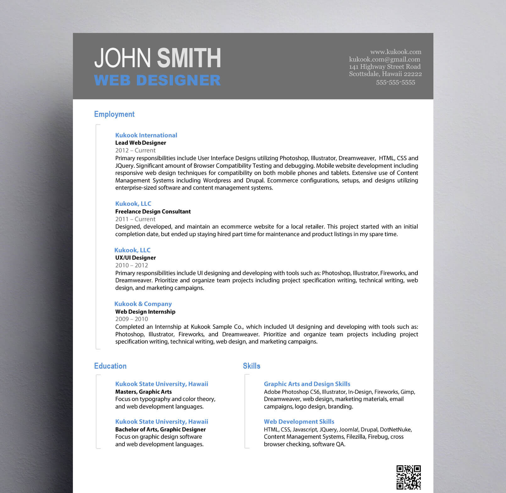 simple graphic design resume   kukook