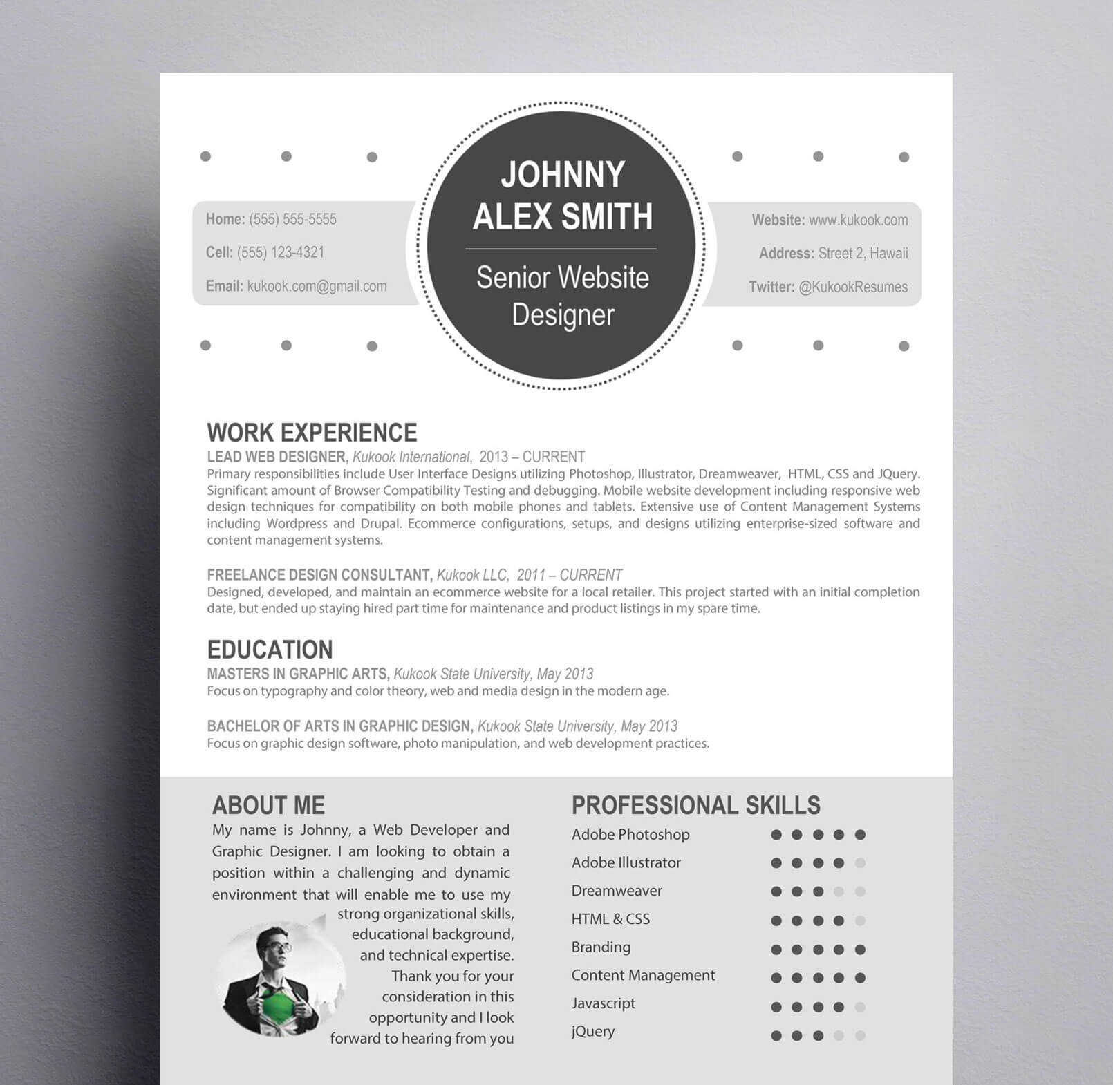 Modern Resume Template for Creative Careers : Kukook
