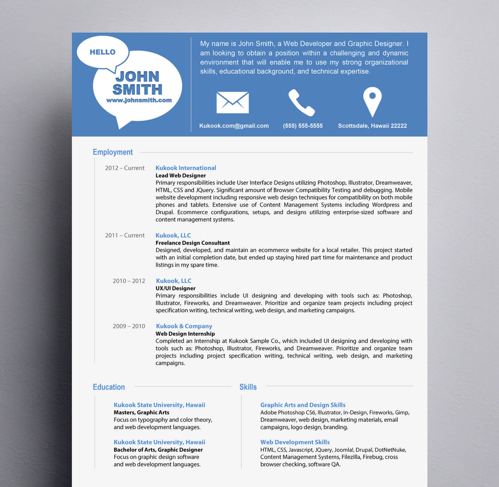 clean and modern resume style