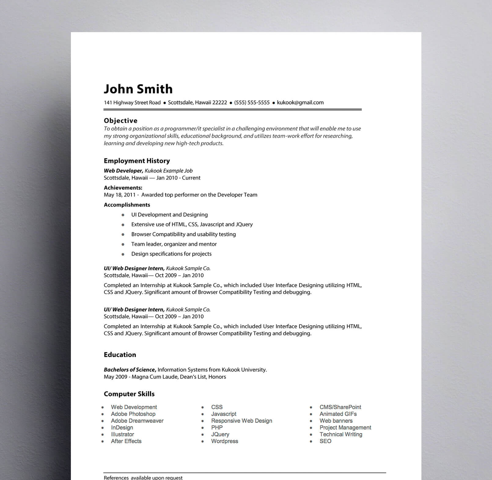 simple resume template black  white   kukook