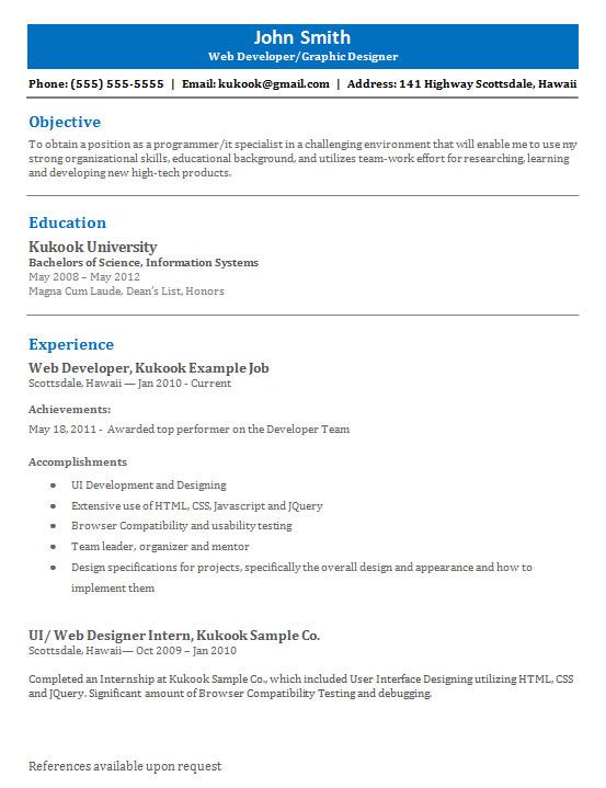 sle resume user interface designer