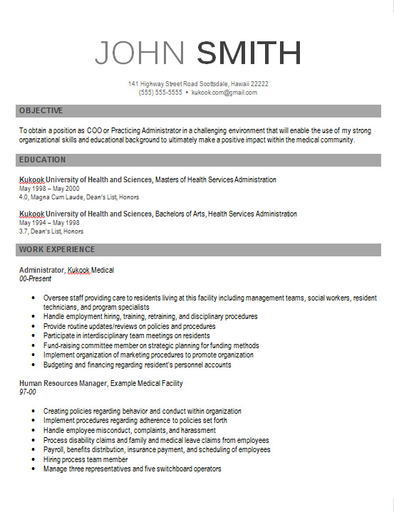modern looking resume