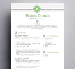 green and grey themed resume sample