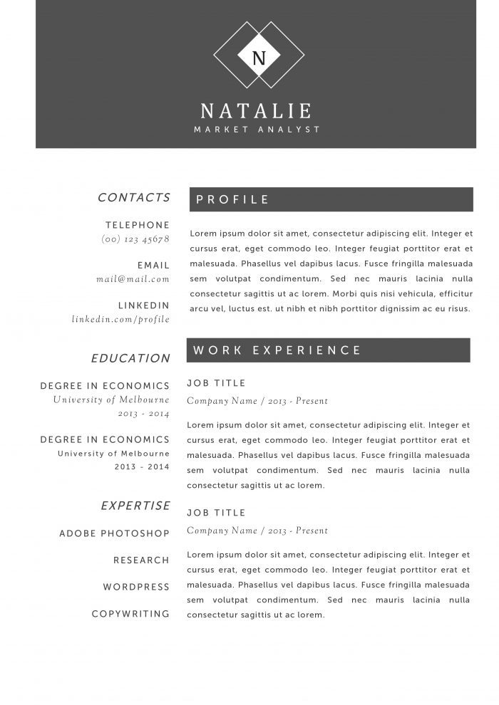Use Our Creative Resume Templates, Land The Job.   Resume Profile