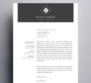 monochrome cover letter style