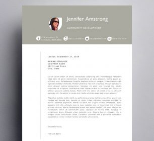 stylish cover letter template with photograph
