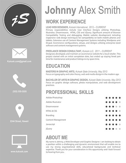 Artistic Resume Template - Easy to Edit and Customize