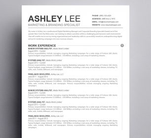 black and white text based resume template
