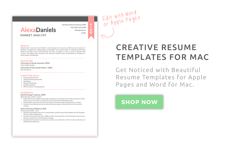 Creative Resume Templates For Mac U0026 Apple Pages  Pages Resume Template