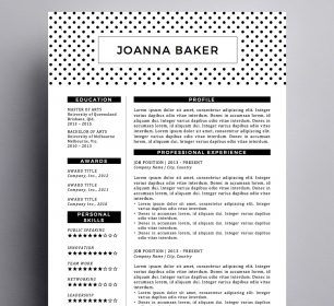 polka dot resume template with business card