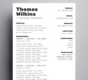 minimal programmer resume template