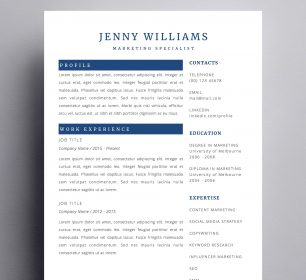 jenny williams resume template